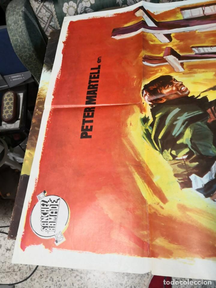Cine: 2 CRUCES EN DANGER PASS ROMERO MARCHENT PETER MARTELL SPAGHETTI POSTER ORIGINAL 70X100 - Foto 4 - 169703548