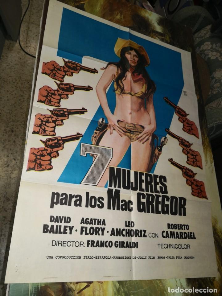 7 MUJERES PARA LOS MAC GRAGOR - POSTER CARTEL ORIGINAL ESTRENO - DAVID BAILEY AGATHA FLORY F GIRALDI (Cine - Posters y Carteles - Westerns)