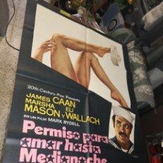 Cine: PERMISO PARA AMAR HASTA MEDIA NOCHE JAMES CAAN MARSHA MASON POSTER ORIGINAL ESTRENO 70X100. Lote 169721336