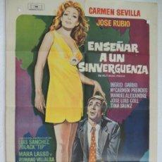 Cine: ENSEÑAR A UN SINVERGUENZA - POSTER CARTEL ORIGINAL - CARMEN SEVILLA JOSE PEPE RUBIO MAC. Lote 169797568