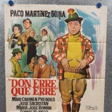 Cine: DON ERRE QUE ERRE. PACO MARTÍNEZ SORIA, MARI CARMEN PRENDES AÑO 1970 POSTER ORIGINAL. Lote 169986712