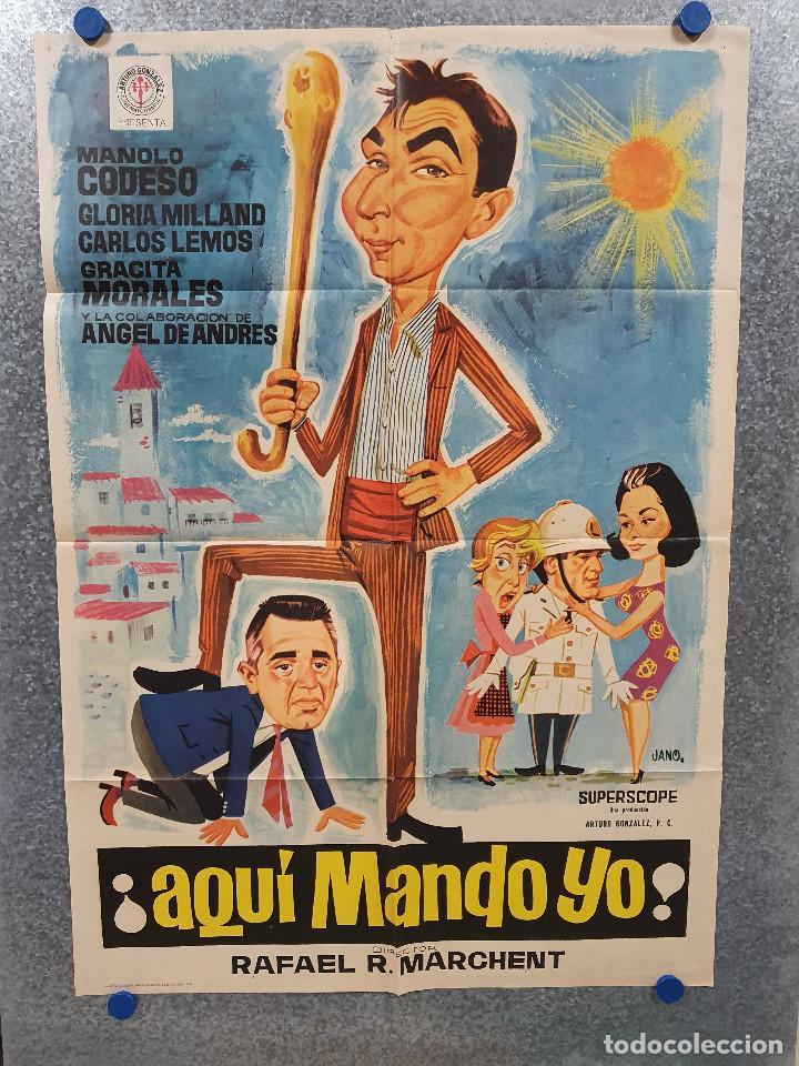 AQUÍ MANDO YO. MANUEL ARBÓ, JOAQUÍN BURGOS, ANTONIO CINTADO AÑO 1966. POSTER ORIGINAL (Cine - Posters y Carteles - Clasico Español)