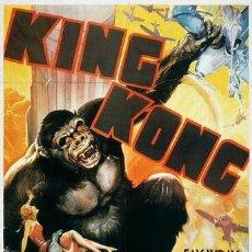 Cine: KING KONG DE 1933 - CARTEL 100X68CM. VERSIÓN ESTADOUNIDENSE - PEGADO SOBRE TABLA - SIN PLIEGUES. Lote 170963112