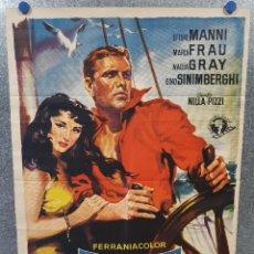 Cine: VENCIDO POR SU AMBICIÓN. ETTORE MANNI, MARIA FRAU, NADIA GRAY AÑO 1960. POSTER ORIGINAL. SOLIGÓ. Lote 171050160