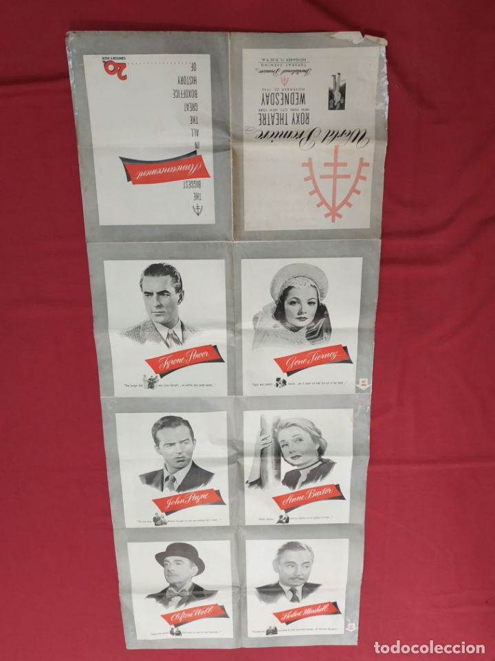 Cine: THE RAZORS EDGE - CARTEL / POSTER / FOLLETO DEL ESTRENO MUNDIAL - EL FILO DE LA NAVAJA - 1946 - Foto 10 - 171119264