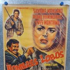 Cine: HOMBRES Y LOBOS. SILVANA MANGANO, YVES MONTAND, PEDRO ARMENDÁRIZ. POSTER ORIGINAL . Lote 171129910