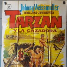 Cine: (N156) TARZAN Y LA CAZADORA, JOHNNY WEISSMULLER,BRENDA JOICE, CARTEL DE CINE ORIGINAL 100X70 CM APRO. Lote 270205333