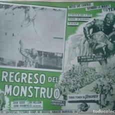 Cine: CARTEL-ANUNCIO DE LA PELÍCULA 'EL REGRESO DEL MONSTRUO' DE JACK ARNOLD, 1955 41,5X32 CMS.. Lote 171703768