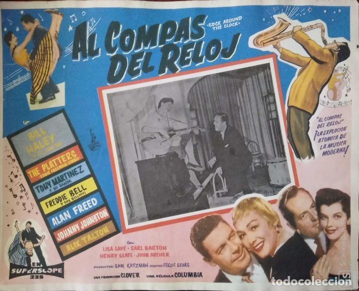 CARTEL-ANUNCIO DEL FILM DE FRED F. SEARS 'ROCK AROUND THE CLOCK' (1956) 42X32,5 CMS. (Cine - Posters y Carteles - Musicales)