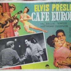 Cine: ELVIS PRESLEY 'CAFÉ EUROPA' (1960). CARTEL-ANUNCIO DE LA PELÍCULA. 42X32 CMS.. Lote 171708199