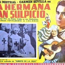 Cine: CARTEL-ANUNCIO DEL FILM 'LA HERMANA SAN SULPICIO' (1952) CON CARMEN SEVILLA Y JORGE MISTRAL 43X33,5. Lote 171728219