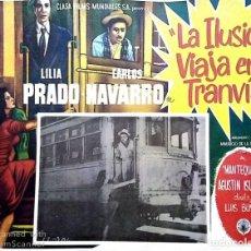 Cine: LUIS BUÑUEL CARTEL-ANUNCIO DEL FILM 'LA ILUSIÓN VIAJA EN TRANVÍA' (1953). 43X32 CMS.. Lote 171728549