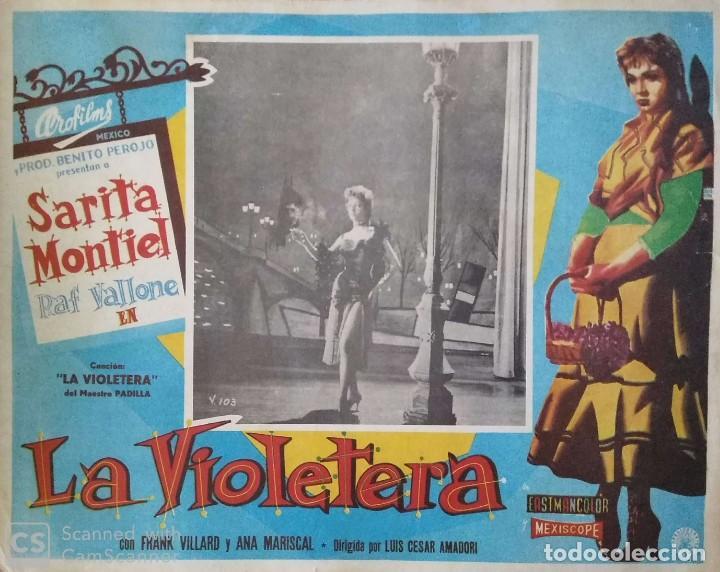 SARITA MONTIEL CARTEL-ANUNCIO DE 'LA VIOLETERA' (1958) DE LUIS CÉSAR AMADORI CON RAF VALLONE 41,5X32 (Cine - Posters y Carteles - Clasico Español)