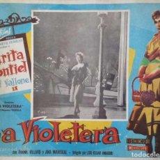 Cine: SARITA MONTIEL CARTEL-ANUNCIO DE 'LA VIOLETERA' (1958) DE LUIS CÉSAR AMADORI CON RAF VALLONE 41,5X32. Lote 171730468