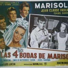 Cine: CARTEL-ANUNCIO DE LA PELÍCULA DE LUIS LUCIA 'LAS 4 BODAS DE MARISOL'. 38X29 CMS.. Lote 171730764