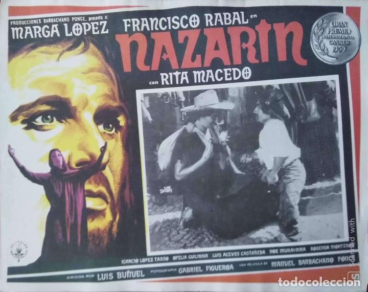 LUIS BUÑUEL CARTEL-ANUNCIO DEL FILM 'NAZARÍN' (1959) CON FRANCISCO RABAL Y RITA MACEDO 43X33 CMS. (Cine- Posters y Carteles - Drama)