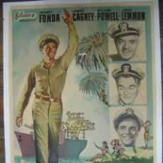 Cine: CARTEL ESCALA EN HAWAI - HENRY FONDA, JAMES CAGNEY, WILLIAM POWELL, JACK LEMMON - AÑO 1962. Lote 172130963