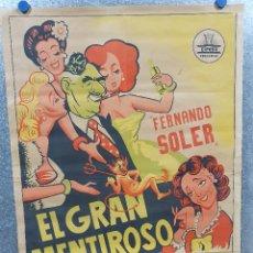 Cine: EL GRAN MENTIROSO. FERNANDO SOLER ANITA BLANCH, IRMA TORRES, JOAQUIN CORDERO. POSTER LITOGRAFIA. Lote 172169080