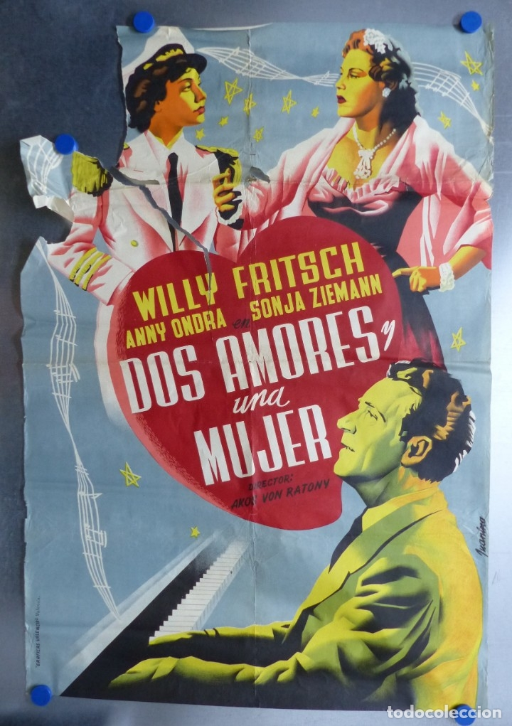 CARTEL - DOS AMORES Y UNA MUJER, WILLY FRITSCH, ANNY ONDRA, SONJA ZIEMANN - LITOGRAFIA - JUANINO (Cine- Posters y Carteles - Drama)