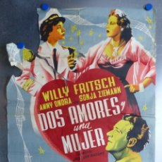 Cine: CARTEL - DOS AMORES Y UNA MUJER, WILLY FRITSCH, ANNY ONDRA, SONJA ZIEMANN - LITOGRAFIA - JUANINO. Lote 172265742
