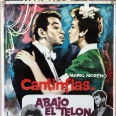 Cine: ABAJO EL TELÓN. MARIO MORENO CANTINFLAS CARTEL ORIGINAL 100X70. Lote 172806852