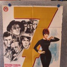 Cine: SIETE 7 HOMBRES DE ORO. ROSSANA PODESTÀ, PHILIPPE LEROY, GASTONE MOSCHIN AÑO 1965 POSTER ORIGINAL. Lote 172838522