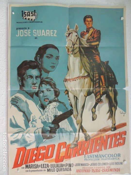 DIEGO CORRIENTES - POSTER CARTEL ORIGINAL ESTRENO - ANTONIO ISASI-ISASMENDI JOSÉ SUÁREZ (Cine - Posters y Carteles - Clasico Español)