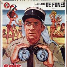 Cine: SEIS GENDARMES A LA FUGA. LOUIS DE FUNES. CARTEL ORIGINAL 1971. 70X100. Lote 172921627