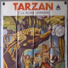 Cinéma: (N97) TARZAN Y LA MUJER LEOPARDO, JHONNY WEISMULLER,BRENDA JOYCE, CARTEL DE CINE ORIGINAL 100X70 CM. Lote 196787677