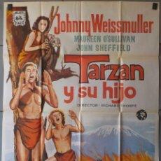 Cinema: (N14) TARZAN Y SU HIJO, JOHNNY WEISSMULLER,MAURREN OSULLIVAN, CARTEL DE CINE ORIGINAL 100X70 CM APR. Lote 203478612