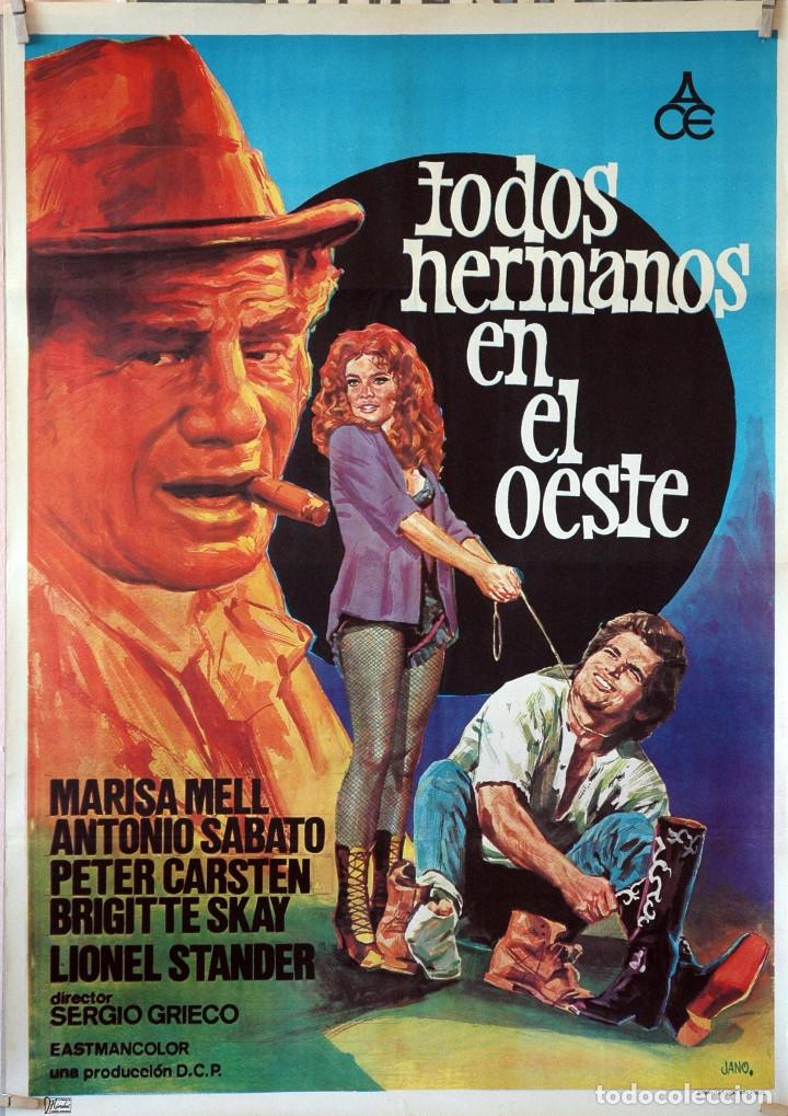 TODOS HERMANOS EN EL OESTE. SERGIO GRIECO. CARTEL ORIGINAL 1975. 70X100 (Cine - Posters y Carteles - Westerns)