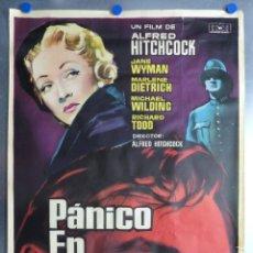 Cine: CARTEL - PANICO EN LA ESCENA - ALFRED HITCHCOCK, MARLENE DIETRICH - AÑO 1961 - MEDIDAS 100X70 CM.. Lote 173196259