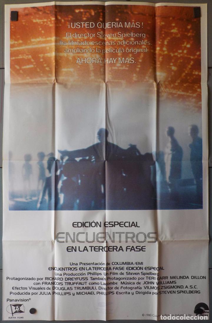 (N18) ENCUENTROS EN LA TERCERA FASE,EDICION ESPECIAL, STEVEN SPIELBERG, CARTEL DE CINE ORIGINAL 100X (Cine - Posters y Carteles - Ciencia Ficción)