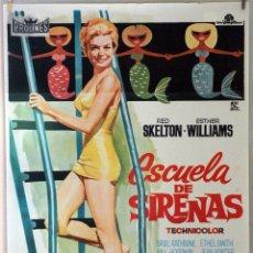 Cine: ESCUELA DE SIRENAS. ESTHER WILLIAMS. CARTEL ORIGINAL 1966. 100X70. Lote 173595839