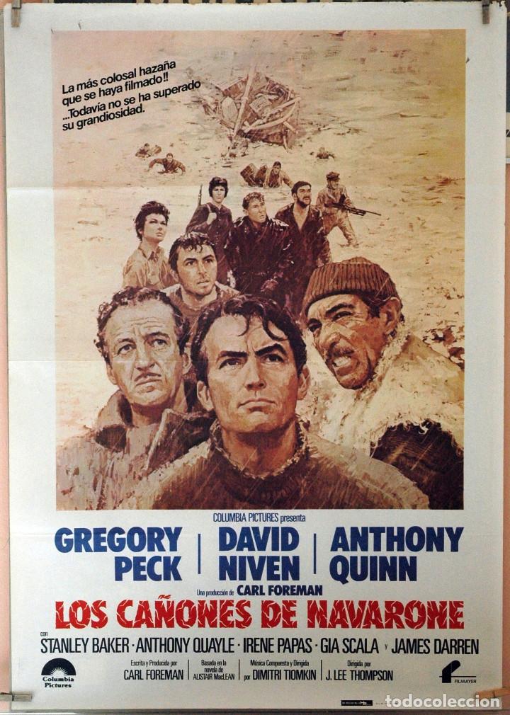 LOS CAÑONES DE NAVARONE. GREGORY PECK-DAVID NIVEN-ANTHONNY QUINN. CARTEL ORIGINAL 1982 (Cine - Posters y Carteles - Bélicas)