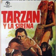 Cine: TARZÁN Y LA SIRENA. JOHNNY WEISSMULLER. CARTEL ORIGINAL 1973. 70X100. Lote 173946893