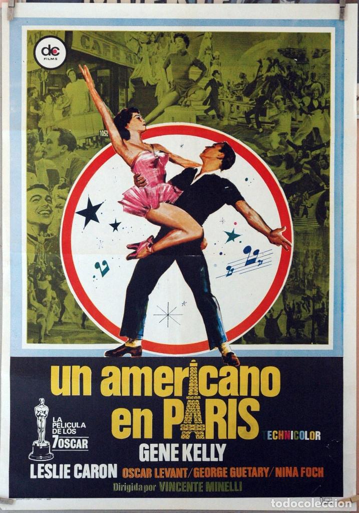 UN AMERICANO EN PARÍS. GENE KELLY-LESLIE CARON-VINCENTE MINELLI. CARTEL ORIGINAL 1980. 70X100 (Cine - Posters y Carteles - Musicales)