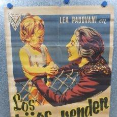 Cine: LOS HIJOS NO SE VENDEN- LEA PADOVANI. PAOLA BARBARA. AÑO 1958. POSTER ORIGINAL LITOGRAFIA. Lote 174083584
