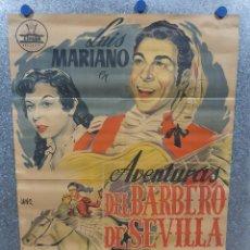 Cine: AVENTURAS DEL BARBERO DE SEVILLA. LUIS MARIANO, LOLITA SEVILLA, J. ISBERT. POSTER LITOGRAFIA. Lote 174084522