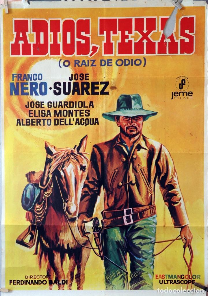 ADIÓS, TEXAS. FRANCO NERO-JOSÉ SUAREZ. CARTEL ORIGINAL 1968. 70X100 (Cine - Posters y Carteles - Westerns)