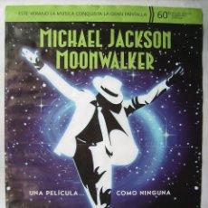 Cine: MOONWALKER, 60 ANIVERSARIO, CON MICHAEL JACKSON. POSTER 69,5 X 99,5 CMS.. 2018.. Lote 174283007