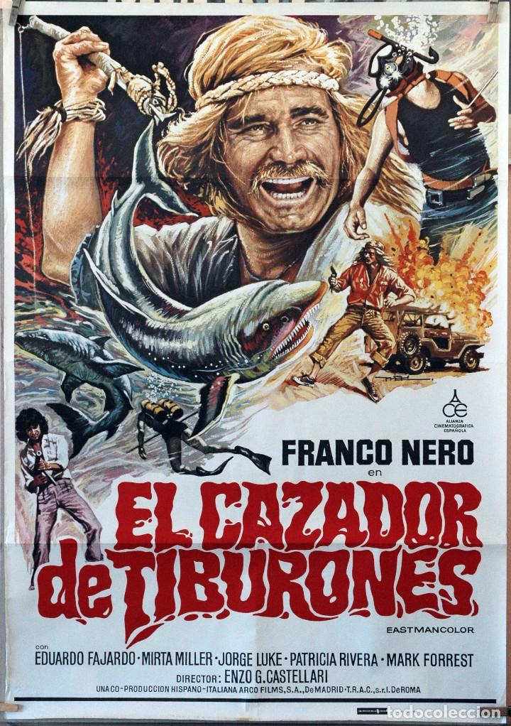 EL CAZADOR DE TIBURONES. FRANCO NERO. CARTEL ORIGINAL 70X100 (Cine - Posters y Carteles - Aventura)