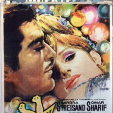 Cine: FUNNY GIRL. BARBRA STREISAND-OMAR SHARIF-WILLIAM WYLER. CARTEL ORIGINAL 1969. 70X100. Lote 175309493