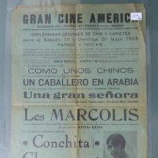 Cine: CARTEL DE SALA GRAN CINE AMERICA - 1928. Lote 175632617