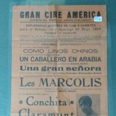 Cine: CARTEL DE SALA GRAN CINE AMERICA - 1928. Lote 175632680