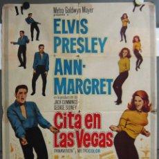 Cine: ZT47 CITA EN LAS VEGAS ELVIS PRESLEY ANN-MARGRET AUTOMOVILISMO POSTER ORIG ESTRENO 70X100. Lote 175783754