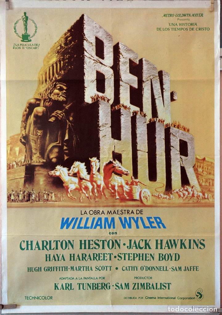 BEN HUR. CHARLTON HESTON-JACK HAWKINS-WILLIAM WYLWE. CARTEL ORIGINAL 1980 70X100 (Cine- Posters y Carteles - Drama)