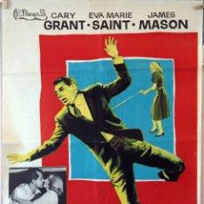 Cine: CON LA MUERTE EN LOS TALONES. ALFRED HITCHCOCK-CARY GRANT-EVA M.SAINT. CARTEL ORIGINAL 1971. . Lote 175899854