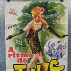Cine: A RITMO DE TWIST. MARIA EUGENIA RUBIO, THE HOOLIGANS, REBELDES DEL ROCK, BEATNIKS AÑO 1963 POSTER. Lote 176105620