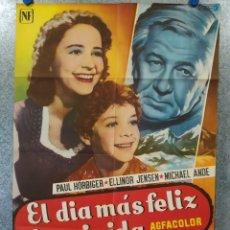 Cine: EL DIA MAS FELIZ DE MI VIDA. PAUL HORBIGER, ELLINOR HENSEN, MICHAEL ANDE. POSTER ORIGINAL. Lote 176110272
